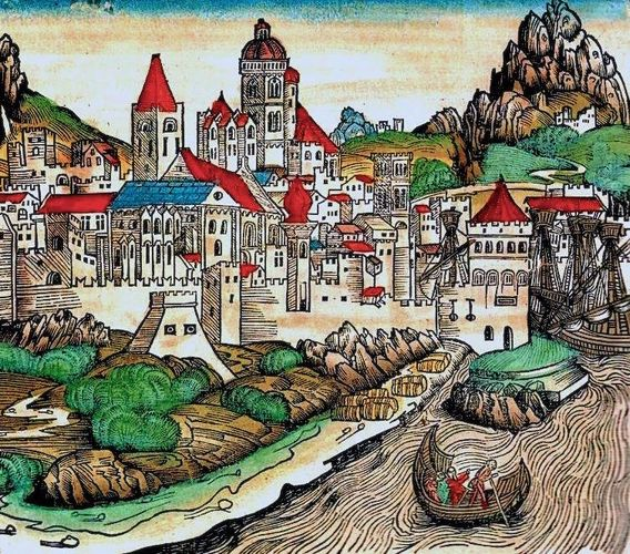 Woodcut of Mainz from the Nuremberg Chronicle, 1493