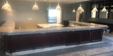 Bainbrook Brown Granite Commercial Bar Top with full bullnose edge and custom granite drip trays