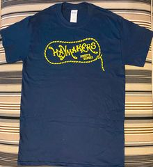 Haymakers navy blue t-shirt with yellow graphic