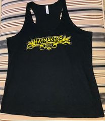 Haymakers ladies black racerback tank top with yellow graphic