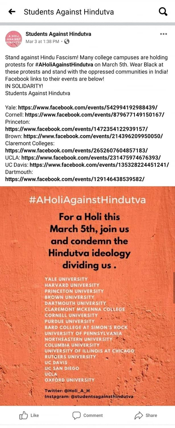 'Students Against Hindutva' group started by Yale university South Asian Students targeted a Hindu festival 'Holi'
