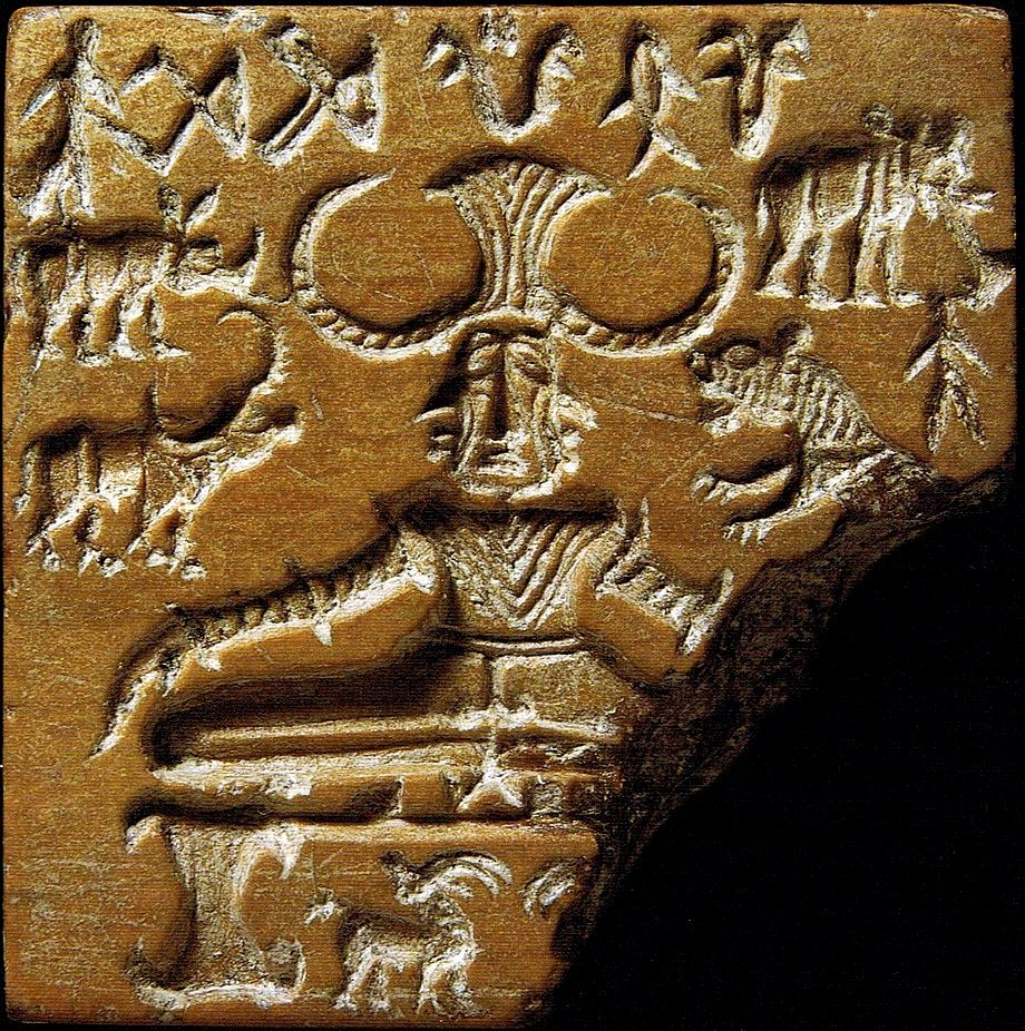 3500 - 1500 BCE: The Pashupati Seal is a steatite seal was discovered at the Mohenjo-daro archaeological site of the Indus Valley Civilization. The seal depicts a seated figure that is possibly tricephalic (having three heads).