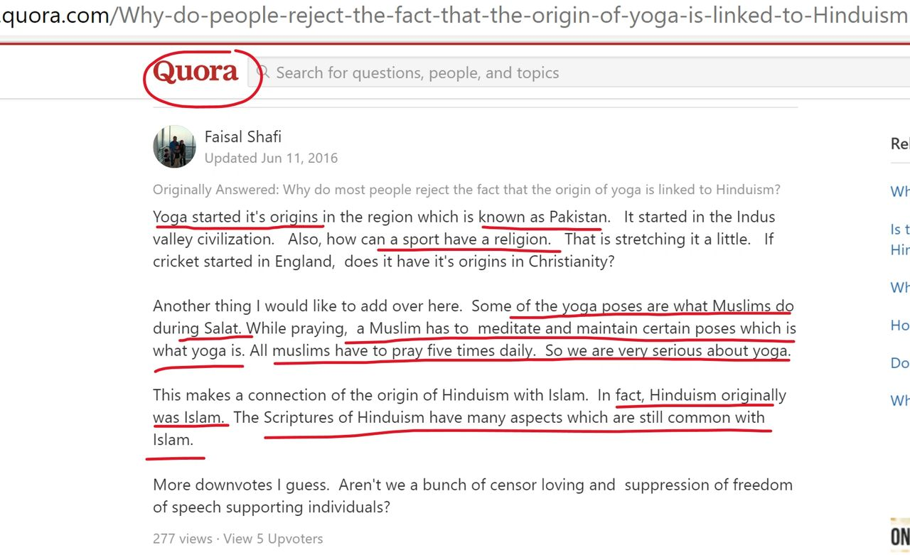 Screenshot taken from Quora.com response on the question: Why do people reject the fact that the origin of yoga is linked to Hinduism?