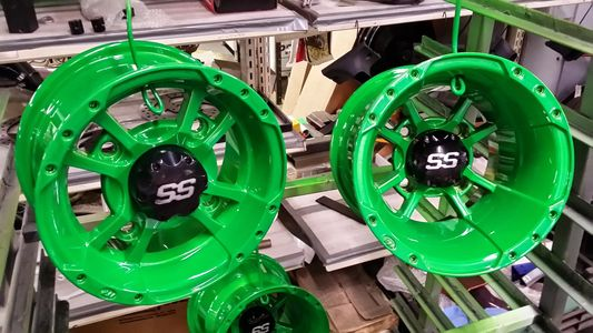 ATV Wheels Powder Coated in Lime Green