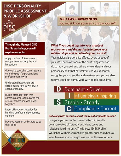 Maxwell DISC Personality Assessment The Lou Everett Group Awareness DISC Trainer