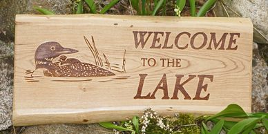 Classic wooden sign made from hardwoods. Welcome to the Lake with Loon design.