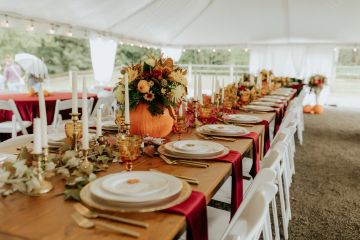 Farm tables included with your rental .   Photo by Emily Sweeney Photography,