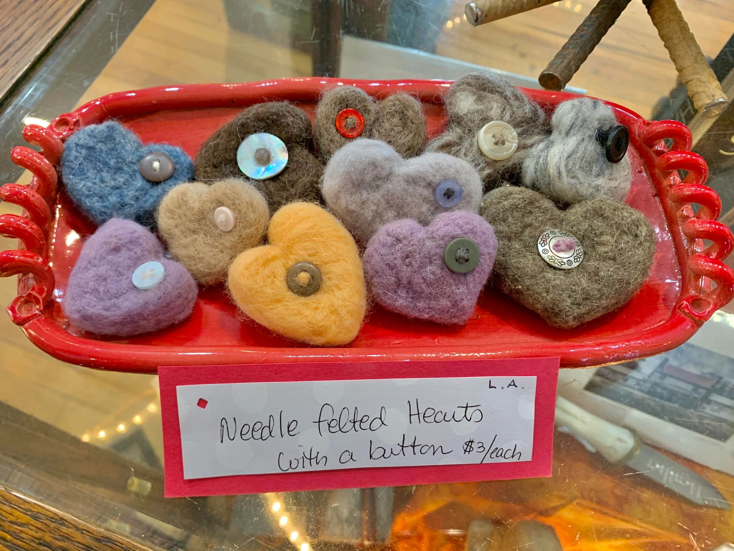 little wool felted hearts with buttons