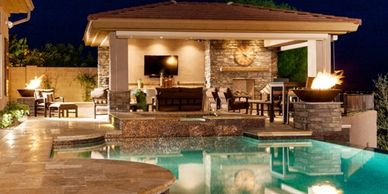 Pools, Spas, showers, plumber, LED Lights, colors, sea blue, paradise, water, summer, waterfall .com