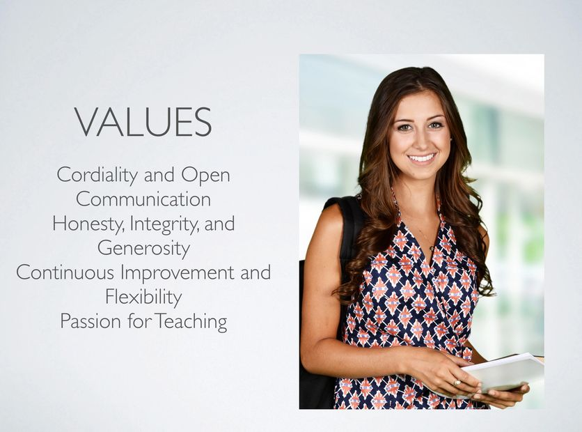 values, corporate, teaching, passion, integrity, communications, communicate, open-door policy, generosity, improvement, vision,
