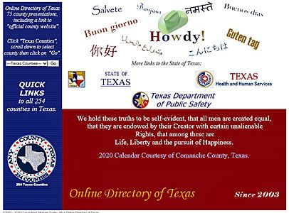 Visit and connect to Any County, Texas, your link to all 254 counties in Texas!