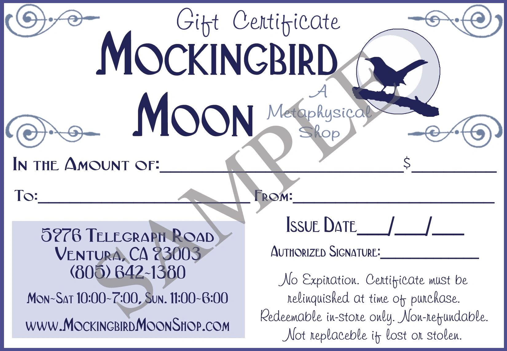 Gift Certificates are good in-store for merchandise, readings, and classes!
