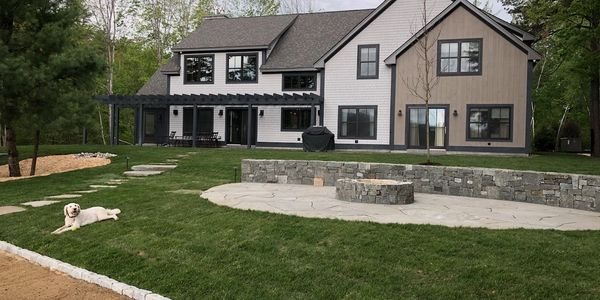 Landscape Design & installation, slate patio, masonry, fire pit, outdoor fire pit, lawn care