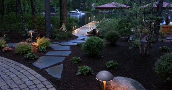 Landscape lighting, night lighting, lawn lighting, backyard lighting, lighting installation