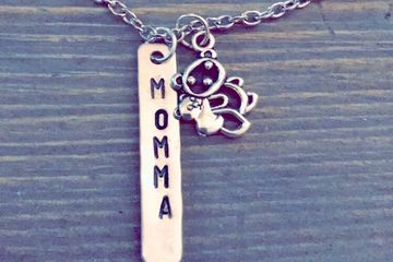 Necklace, mom, momma bear, hand stamped