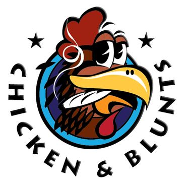 Fish Out of Water band's Chicken & Blunts logo. Funky hip-hop from San Diego, California.