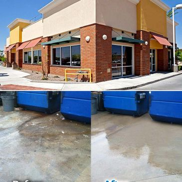 Commercial Cleaning and concrete cleaning with dumpster pad