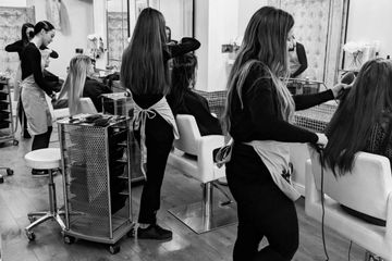 Hair extensions being applied by our graduates at The Hair Alchemist, Harrogate.
