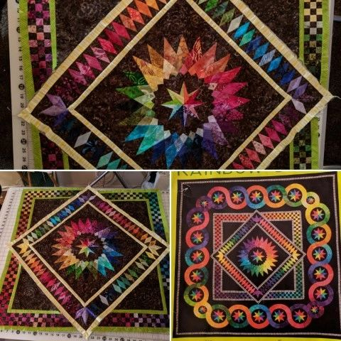 Checkered outside border of inner square Rainbow Quilt, Example of finsished quilt on bottom right.