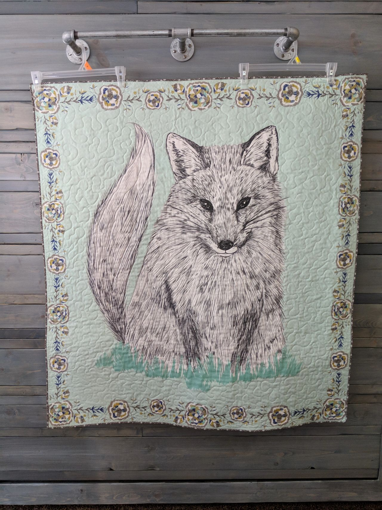 Foxy Loxy Quilt Panel in Glade