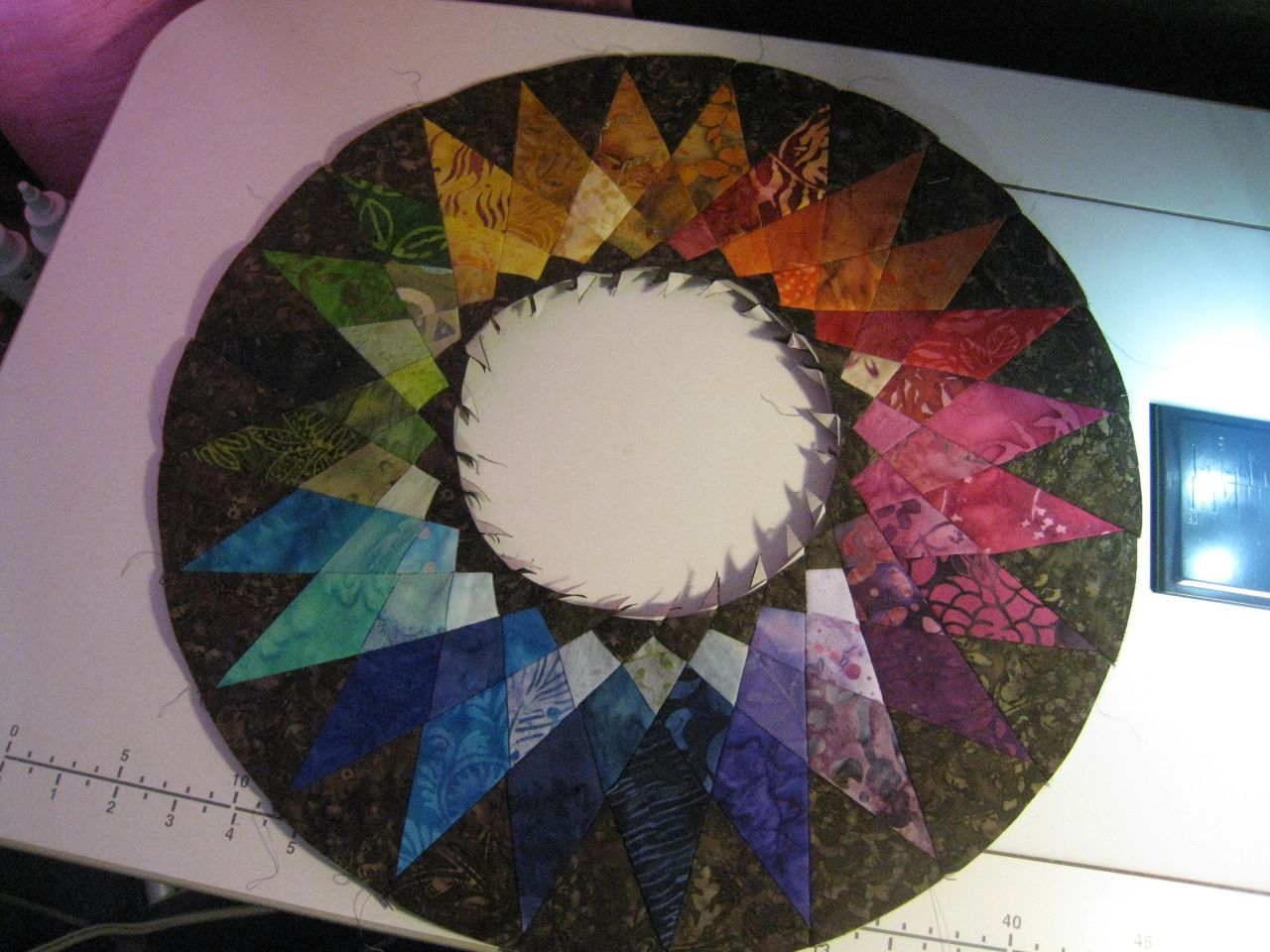 Outer part of star center Rainbow Quilt