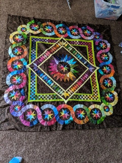 Finished Rainbow Quilt Top