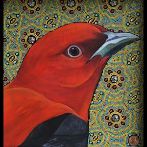 Seed Beads. oil painting red bird mixed media art