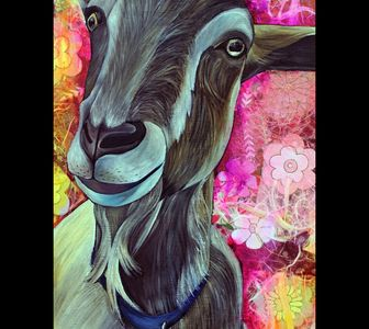 Mixed media art painting  of goat with oil paints and handmade papers.