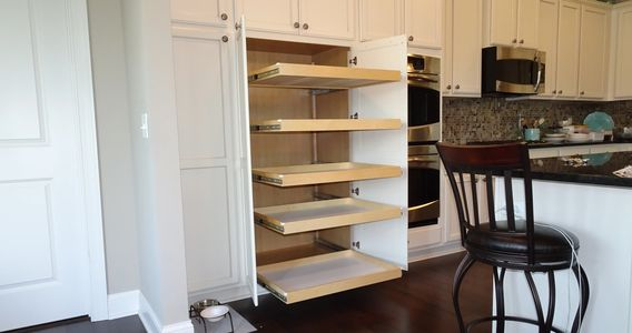 Slide Out Shelves installed in Tall Pantry kitchen cabinet - five wide full extension shelves