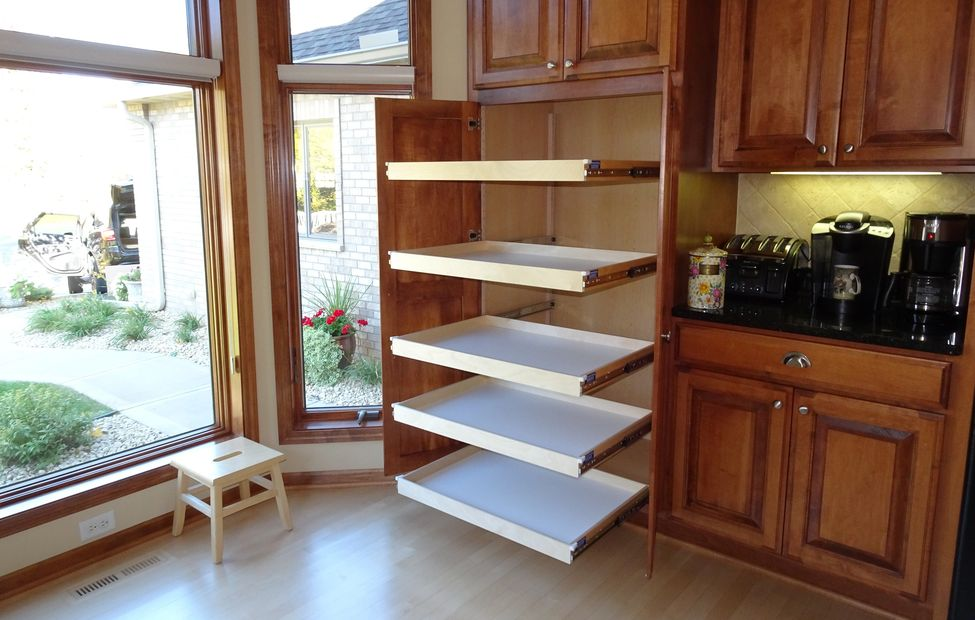 kitchen pantry roll out shelf conversion - five quality full extension slides and custom shelves