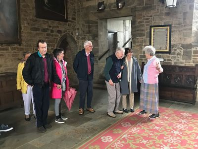 Our members with Lady Saye and Sele in the Great Hall, at Broughton Castle near Banbury.