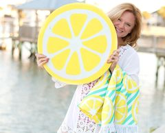Lemon print beach blanket Citrus print beach accessories Lemon print beach bags and accessories