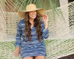 Blue and white stripe sun coverup Navy and white Striped Sun Tunic Beach Coverup