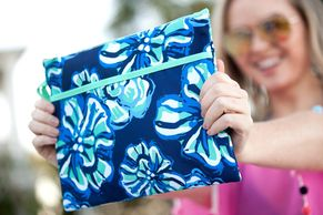 Blue Hawaiian flowers Water proof swimsuit bag Water proof clutch for pool and beach
