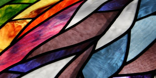 "Part of a stained glass window ""Creation"" in the MTSO Centrum (worship space)"