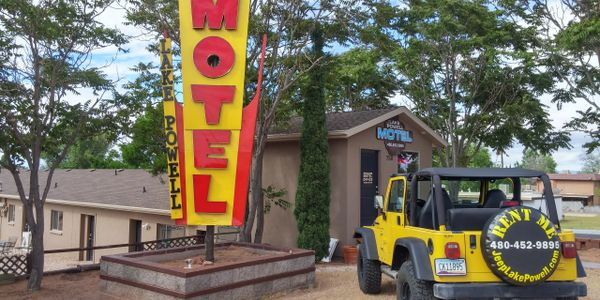 Motel lobby and rental jeep
