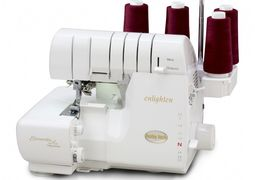 baby lock sewing and quilting machines and sergers.  Wave Stitch, no tensions, tubular loopers.