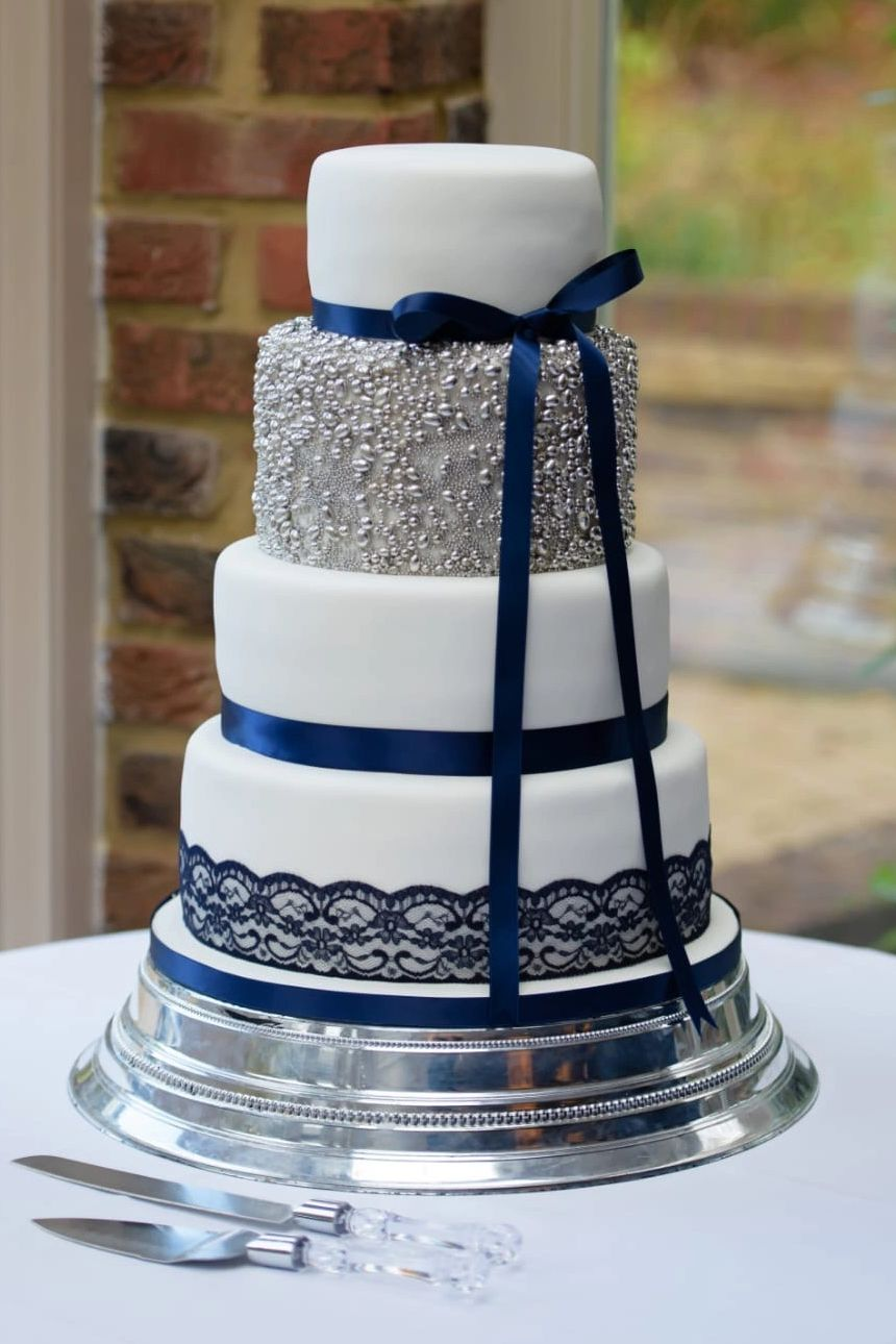 Winter wedding cake, Silver, White and Navy Luxury wedding cake. At Great Hallingbury Manor, Essex.