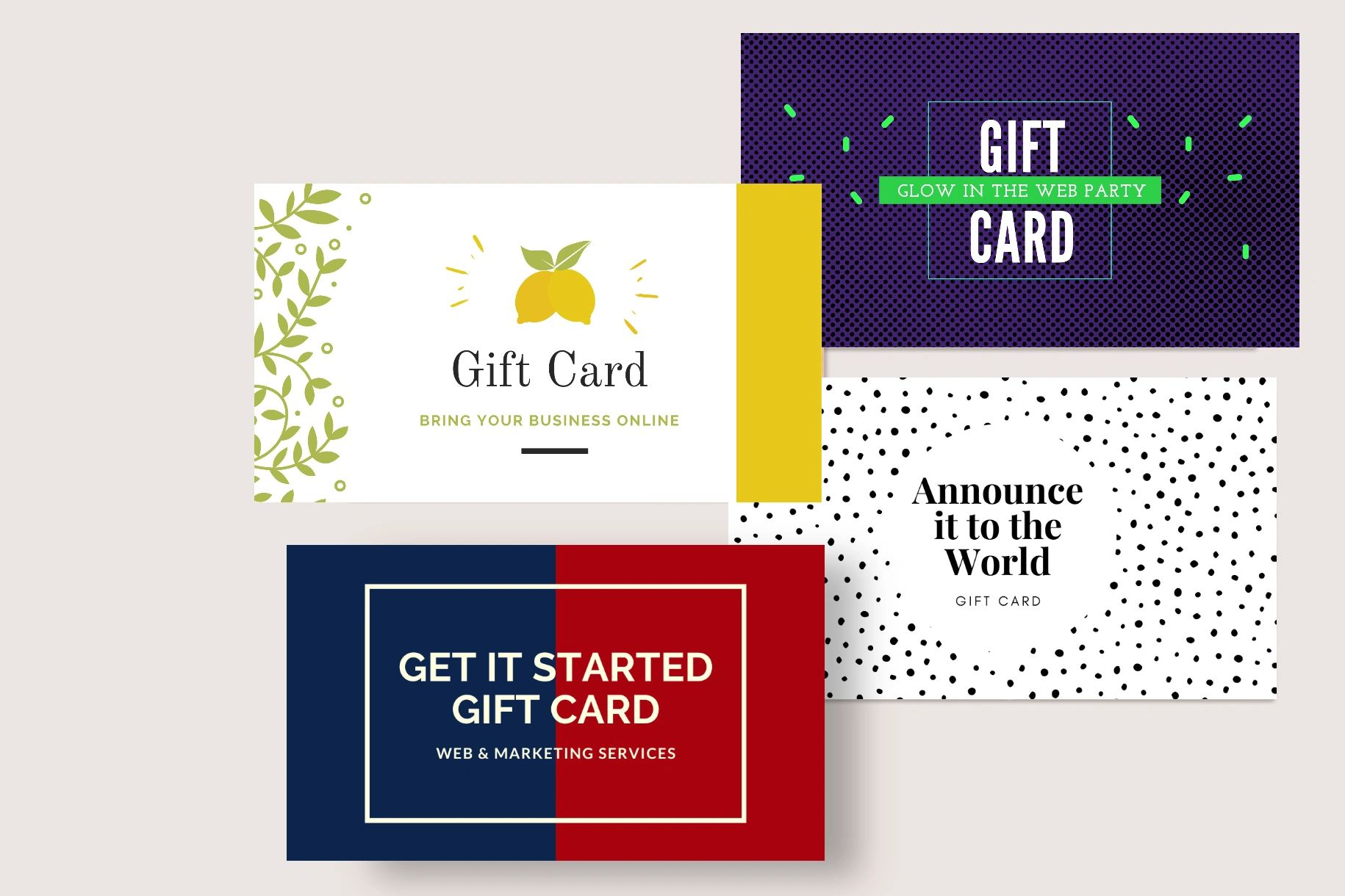 web and marketing gift card