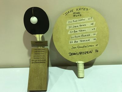 Dave Kates Ping Pong Tournament Trophies. The one on the left was donated by Jan Goodhelpsen.