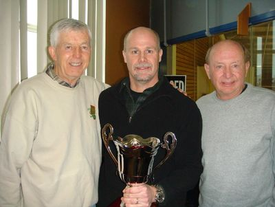 Orville Burchby's son, Mark Burchby, with Ron Panchyshyn and Dale Mcllhargey.