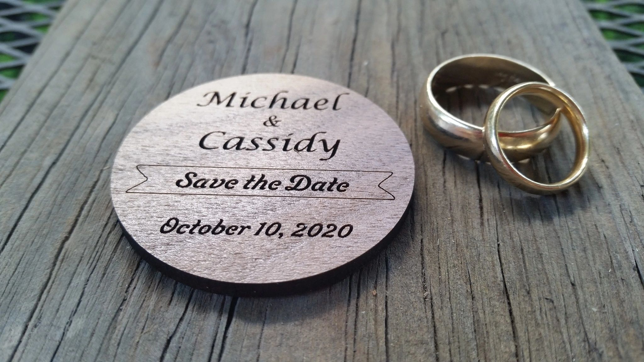 Save the Date wedding announcement tags. Professional & luxurious shown on Walnut Hardwood.