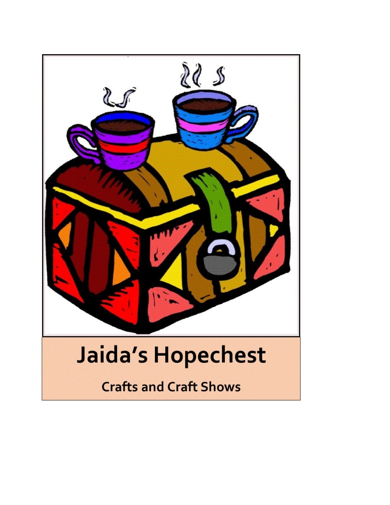 Two drinking mugs filled with hot beverages sit on top of a colorful wood, humpback chest.