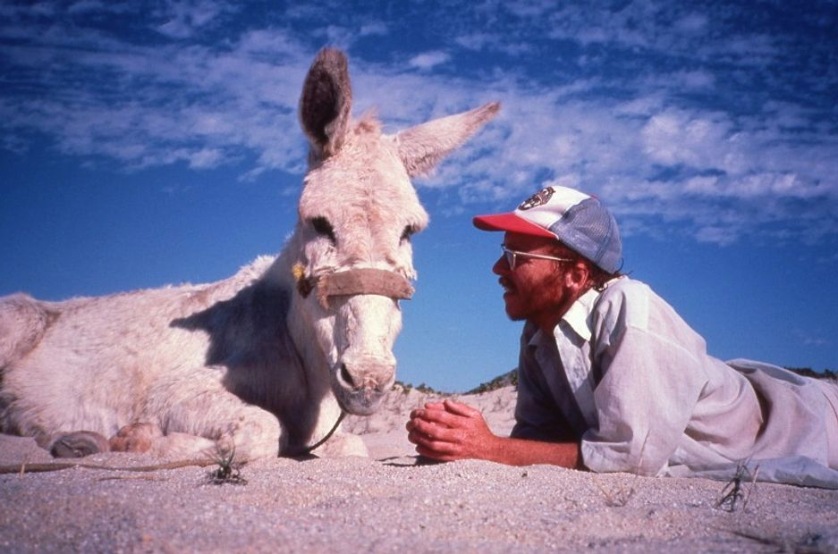 Graham and Bonny the Burro, Cabo San Lucas, 1985