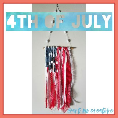 Handmade Holidays Independence Day Art On Creative Fabric Strip Flag Fourth of July Craft