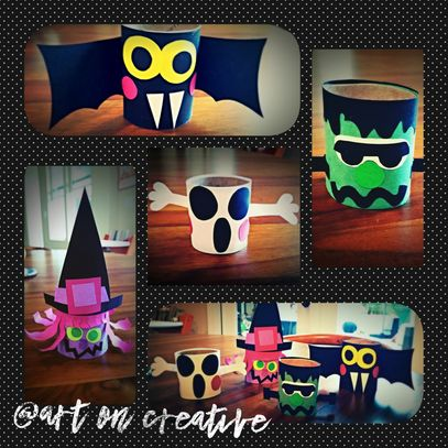 Handmade Halloween Ghost Witch Frankenstein Bat  Paper Tube Craft Art On Creative HB, CA