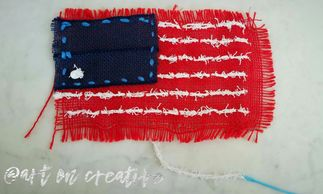 Handmade Holidays Memorial Day Art On Creative Burlap Stitch Sewing Craft Independence Veterans