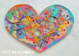 Painted Heart Weaving Valentine Craft for kids Handmade Love Day Art On Creative Huntington Beach CA