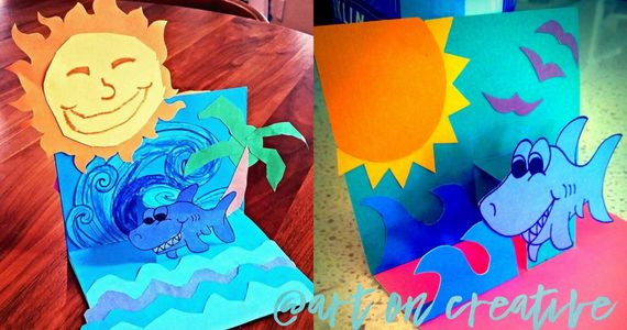 Handmade Holidays Art On Creative Summer Equinox Pop Up Shark Card Paper Craft