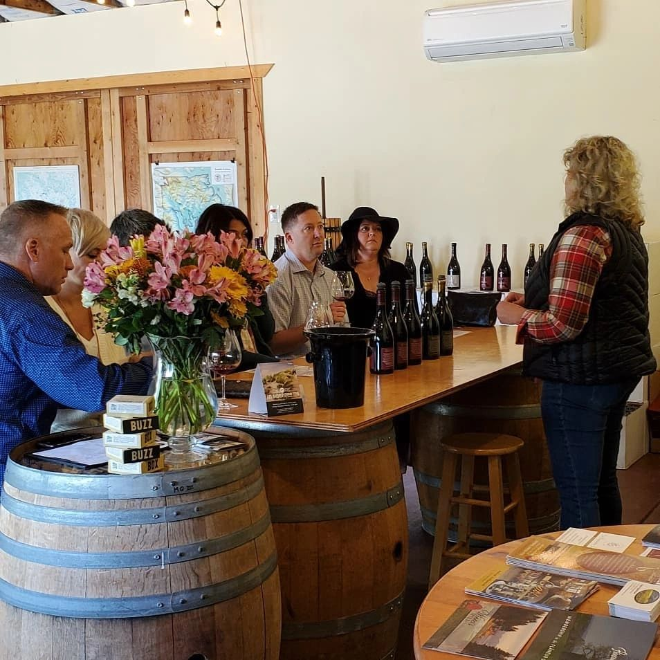Private and intimate wine tasting for group at Monksgate, with winemaker/owner Rebecca